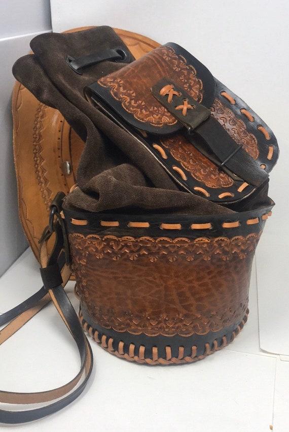 Bucket Bag, Vintage Tooled Leather Bag,Sling Bucke