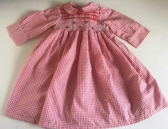 Vintage Hand Smocked Seersucker dress, vintage dre