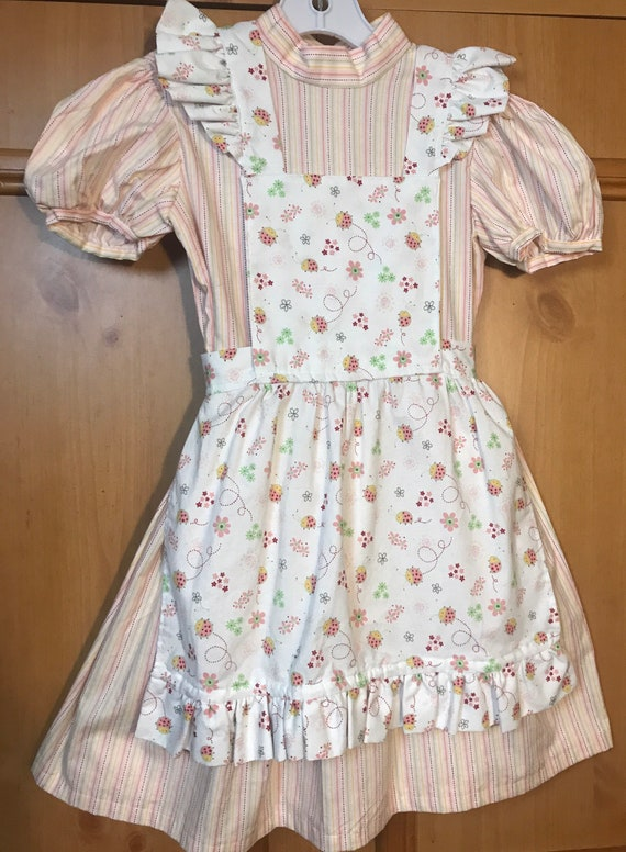 Girls apron dress handmade,Apron dress,vintage dre