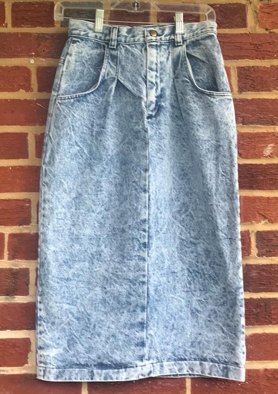 Vintage Denim Acid Wash High waisted skirt,denim s