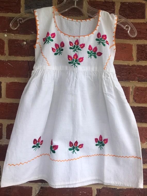 Hand Embroidered Girls Dress,Vintage, vintage girl