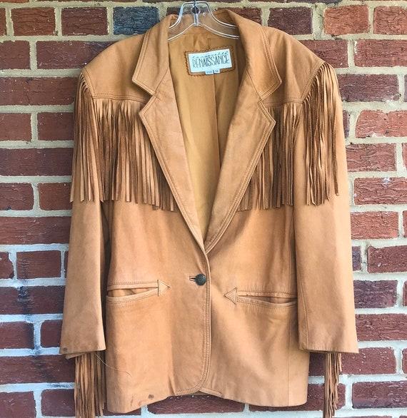Leather fringe women's sz M jacket,Cowboy jacket,f