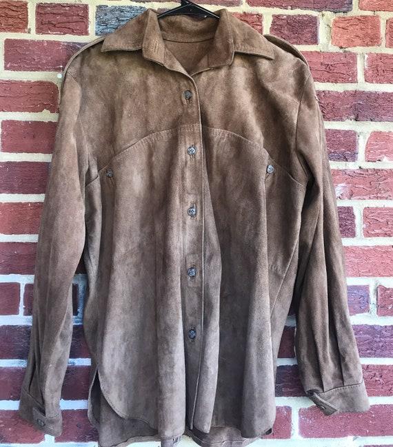 Vintage leather shirt,shirt jacket, vintage leath… - image 1