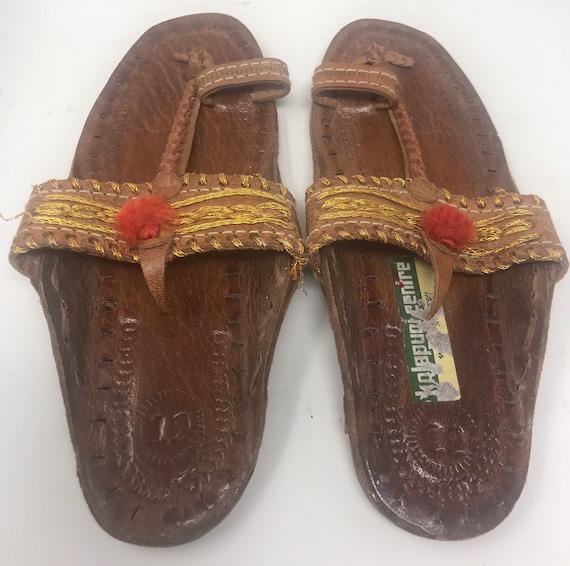 Leather girls sandal,sz 12,ethnic sandal - image 2