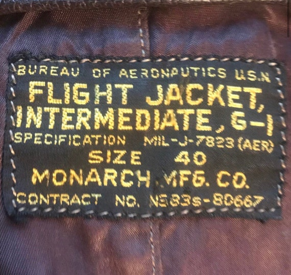 Navy USN US Flight G-1 Monarch MIITARY Jacket - image 2