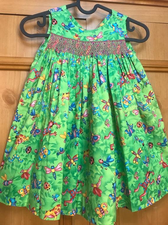 Vintage Handmade Smocked toddler dress,smocking,to