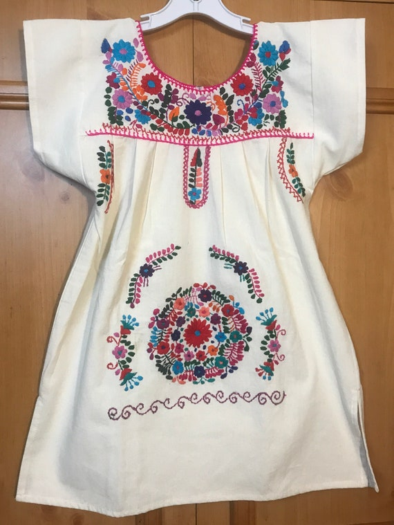 Girls Mexican Hand Embroidered dress,embroidered … - image 1