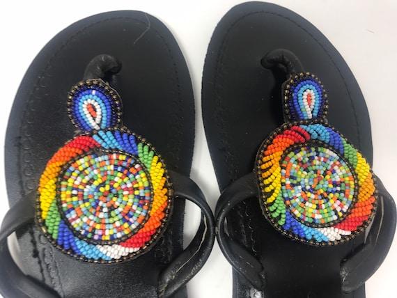 Beaded Leather Flip-flops Thong Sandal,Leather sa… - image 3