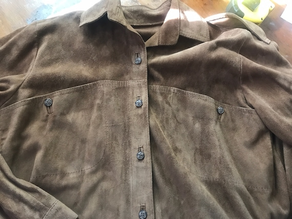 Vintage leather shirt,shirt jacket, vintage leath… - image 4