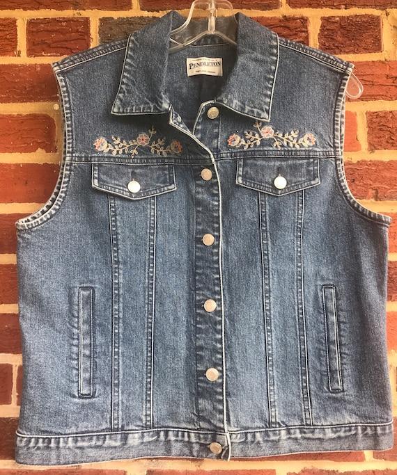 Pendleton Embellished Denim Jean Vest, denim vest… - image 1