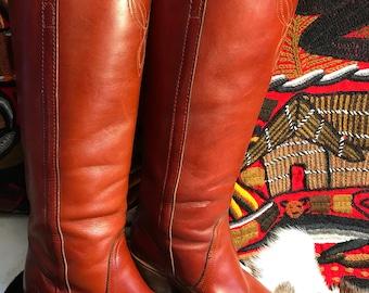 Vintage Frye tall leather knee high western boot sz 6 1/2B