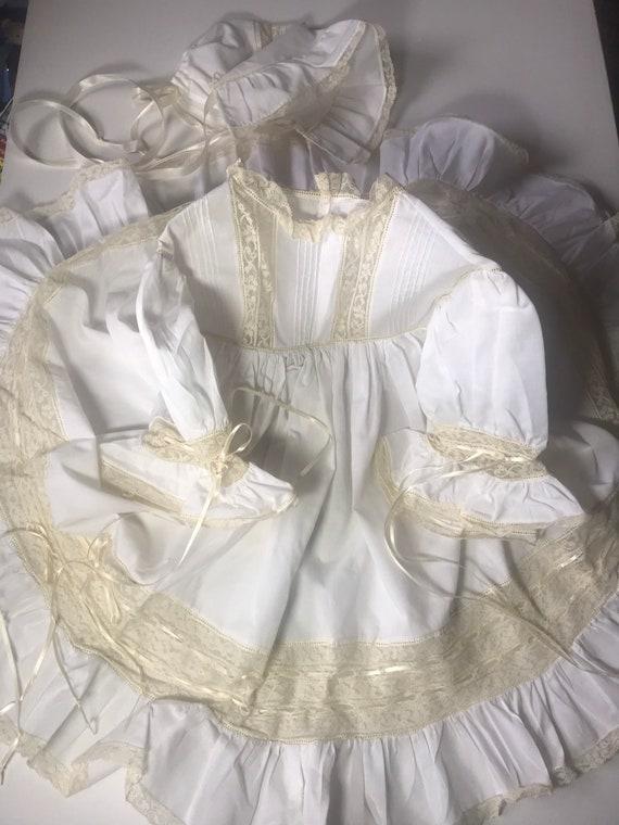 Vintage Custom Victorian Style Dress & Bonnet,Hand