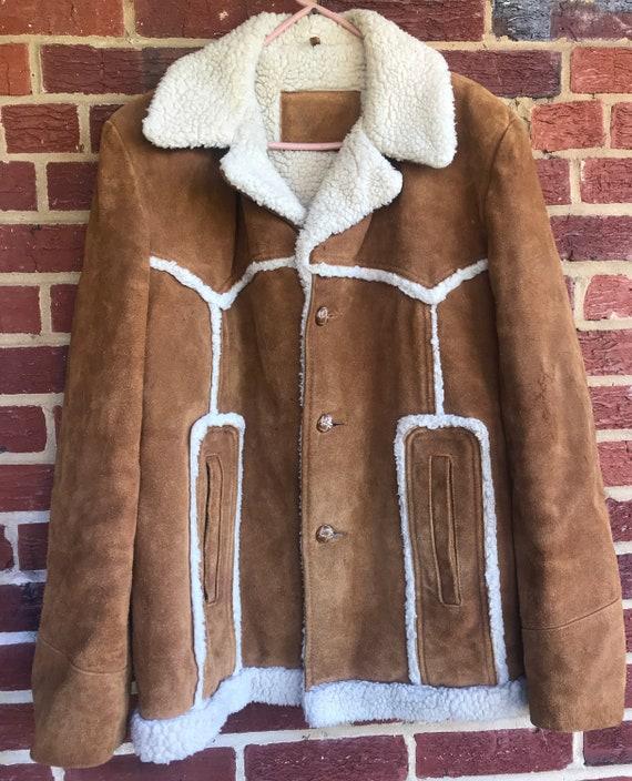 Vintage leather suede sheepskin lined jacket,Suede