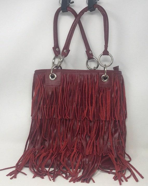 Vintage Fringe Purse,Burgandy Purse,Leather purse,