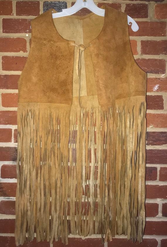 Vintage Woodstock Era Suede Fringe Vest,Handmade,H