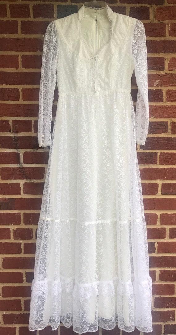 Vintage 60s Lace Corset Front Vintage Dress,Prairi