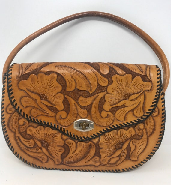 Vintage 70s Leather Tooled Purse /Handbag,Tooled L