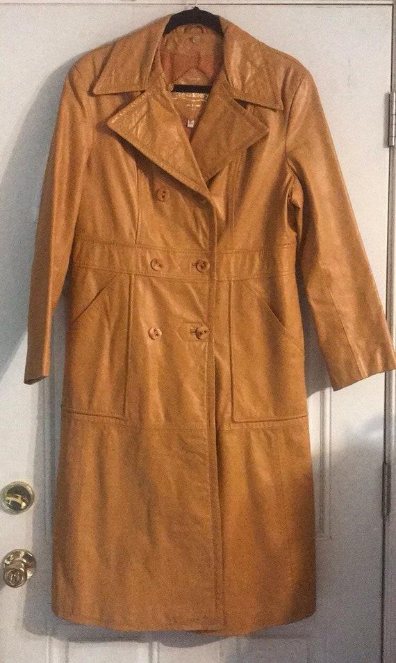 Vintage 70s leather trenchcoat jacket sz 15/16, We