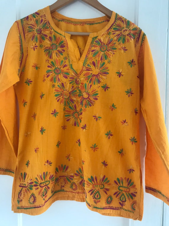 Vintage embroidered blouse, handmade blouse, mediu