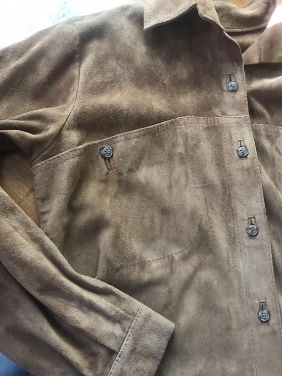 Vintage leather shirt,shirt jacket, vintage leath… - image 5