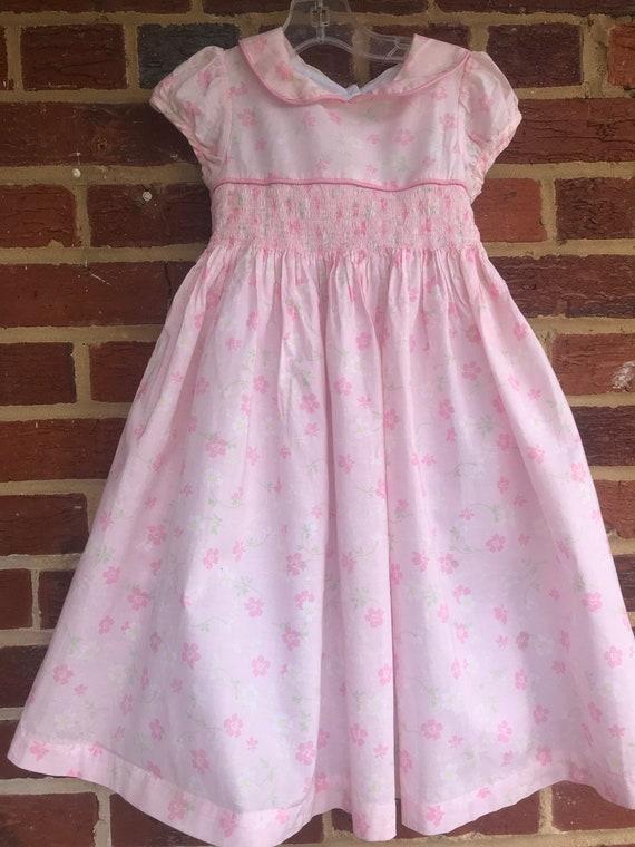 Laura Ashley smocked floral prairie dress,Smocked