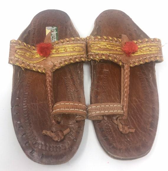 Leather girls sandal,sz 12,ethnic sandal - image 1
