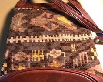 Vintage flat weave Aztec design shoulder/leather purse,kilim