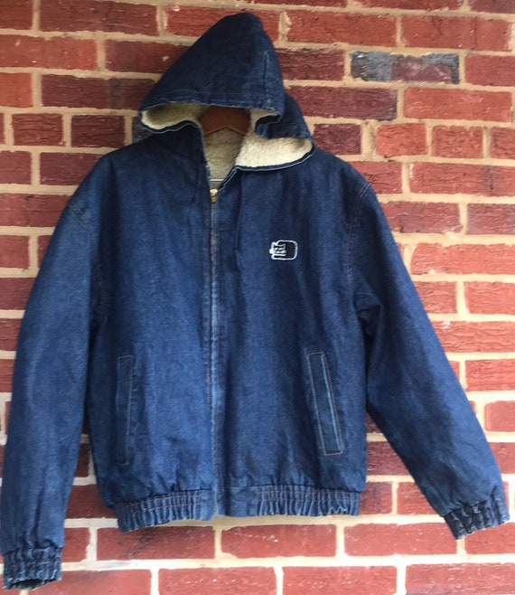Vintage Denim Sherpa Lined Jacket,Black Cat Denim