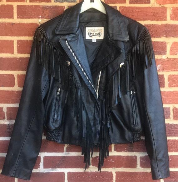 Motorcycle Fringe Jacket,Women's leather jacket,wo