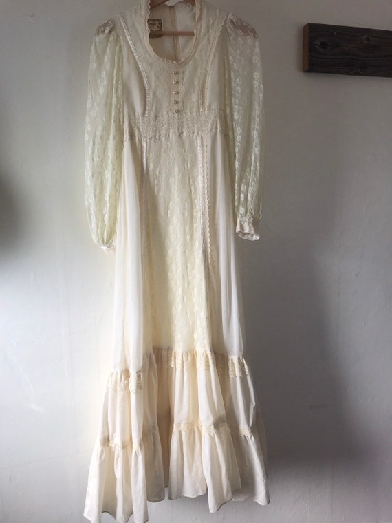 Vintage Xs Gunne Sax Wedding Dress And Veil1970 S Lace Etsy