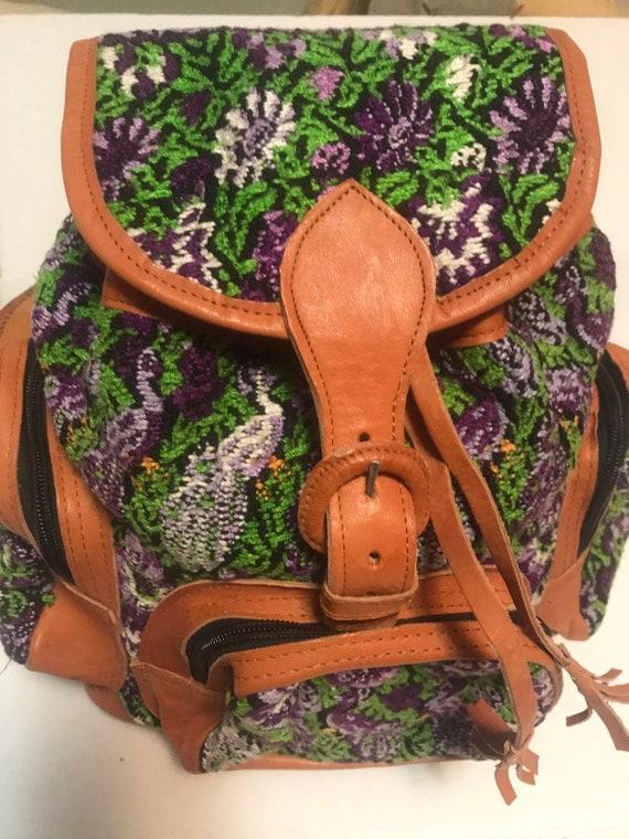 Leather backpack,kilim bag,Knapsack, carpet bag