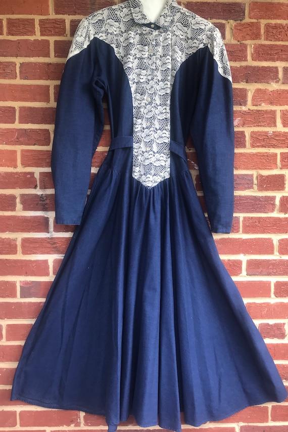 Vintage Denim Prairie Dress,Western dress,denim dr