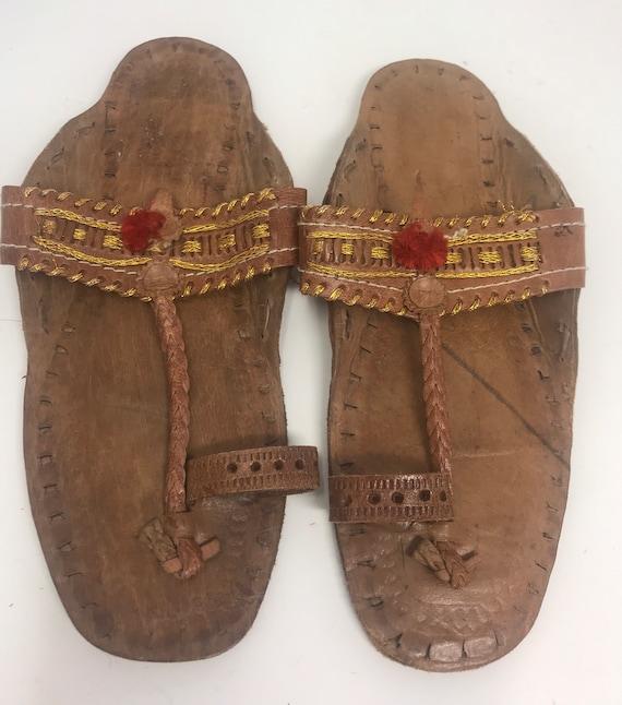 Leather girls sandal,sz 2,ethnic sandal - image 2