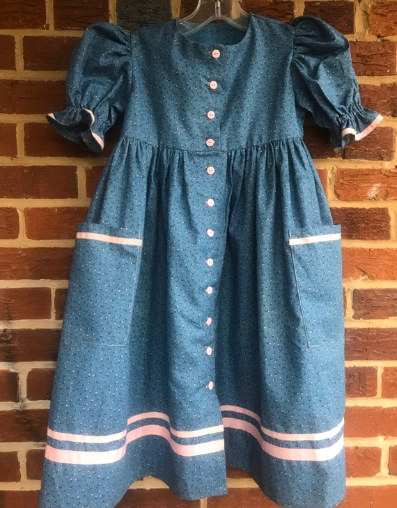 Vintage handmade prairie dress,handmade,girls dres