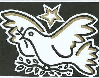 Picasso dove linocut hand printed card