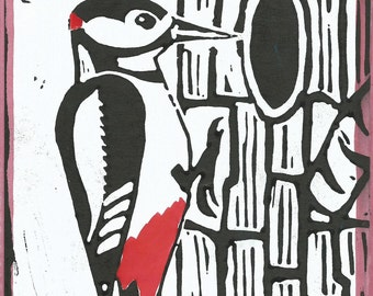 Great Spotted Woodpecker linocut hand printed card