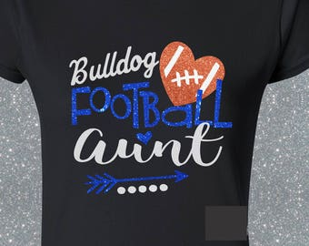 Personlized Glitter Mascot Football Aunt Shirt Customize With School Name or Mascot Team Spirit Wear