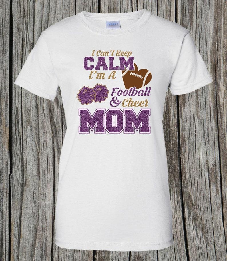 545c9a2edd50 Glitter Football Cheer Mom Shirt I Can't Keep Calm I'm | Etsy
