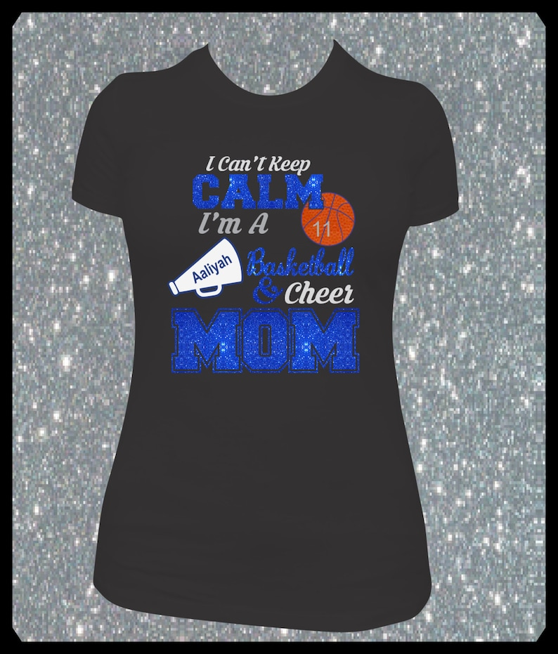 de3d44ddc0d6 Personalized Glitter Basketball Cheer Mom Shirt I Can't | Etsy