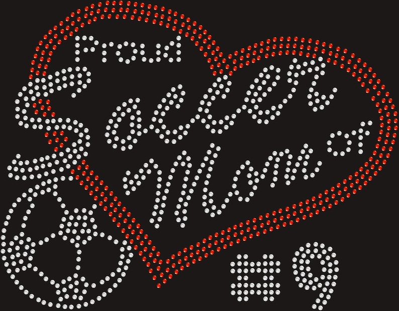 Personalized Proud Soccer Mom Rhinestone Transfer Iron On Bling Applique