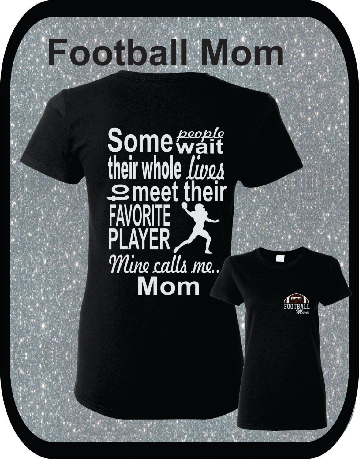 Totesntogs Football Mom White Glitter Design with Brown Glitter Heart Tote Bag in Black//Black.