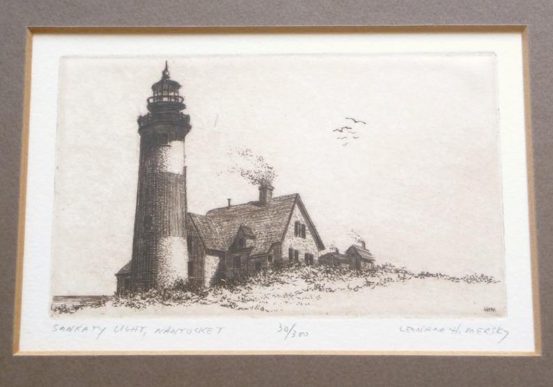 Nantucket 30300 RARE Signed Collectible Framed Vintage Artwork Leonard H Mersky Lighthouse Etching Sankaty Light