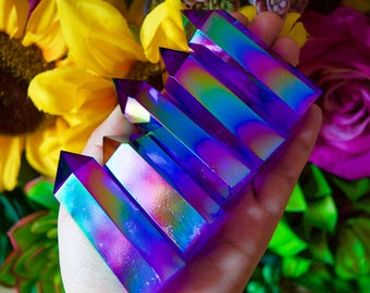 Deep Purple Rose Aura Crystal Quartz Wand Point, aura Crystal wand, healing stone, meditation stone, mineral specimens, gemstone point