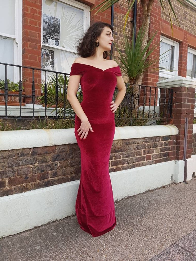 86e6080ab334 Dark red Velvet off the Shoulder evening christmas Glamour | Etsy
