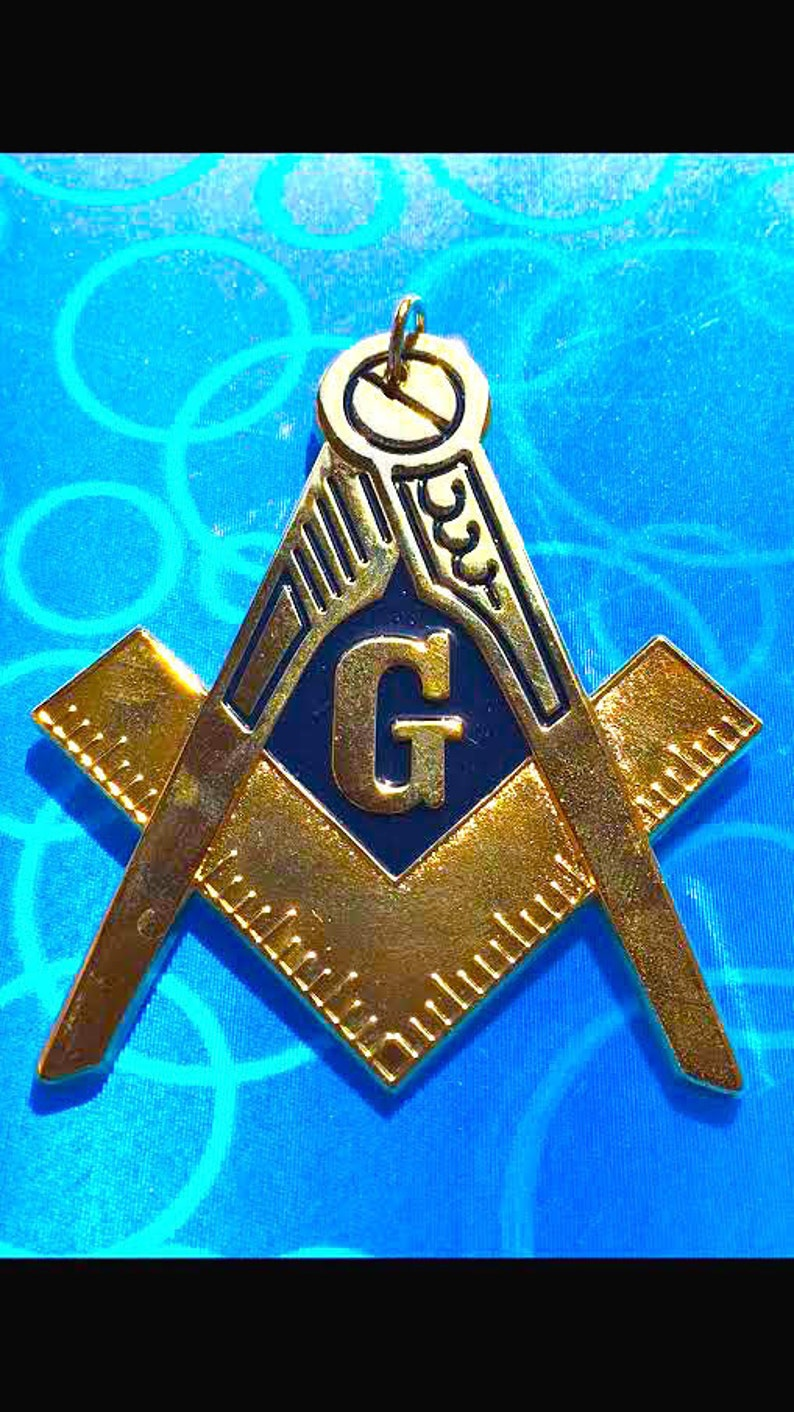 Masonic Blue Lodge Master Mason Chain Collar Large Pendent Jewel Golden