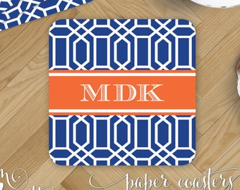 Octagon Paper Coasters - Monogrammed Disposable Drink Coasters - Personalized Masculine Modern Home Decor - Custom Printed New Home Gift
