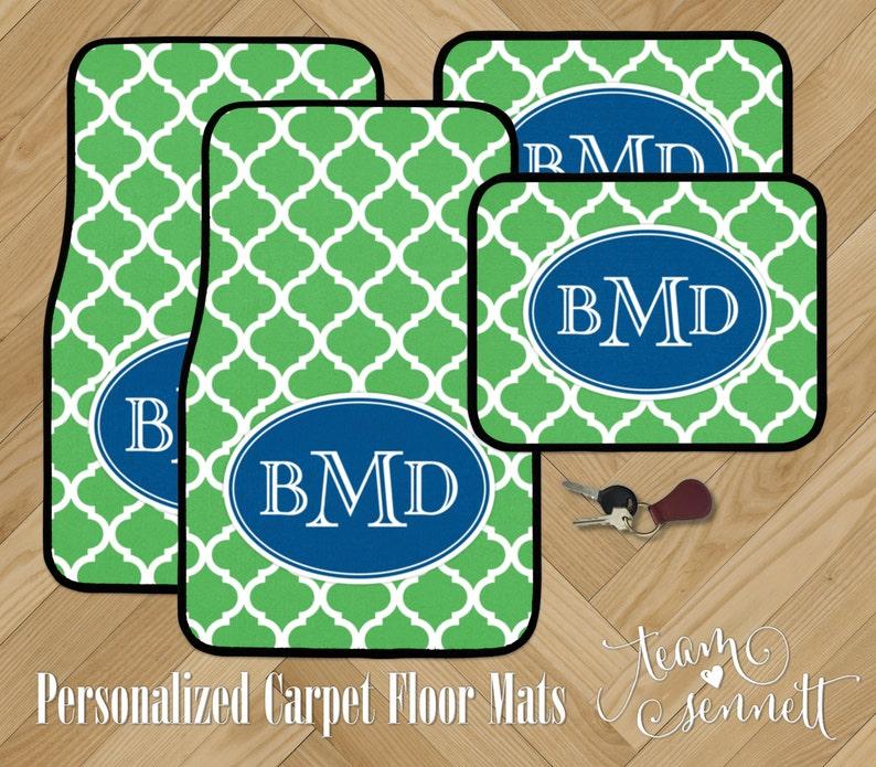 Monogrammed Floor Mats >> Moroccan Monogrammed Car Floor Mats Modern Pattern Etsy