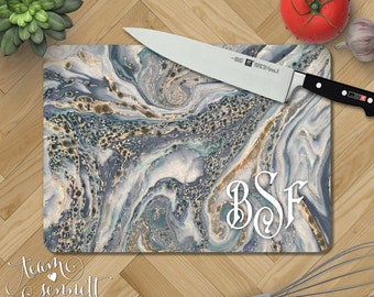 Ocean Marble Personalized Glass Cutting Board - Monogrammed Blue and Gray Kitchen Decor - Wedding or New Home Gift - Rectangular or Round