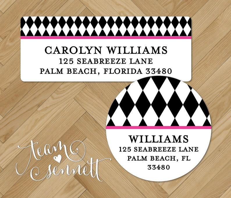 Diamond Pattern Address Stickers Harlequin Return Address Labels Round  Rectangle Custom Printed Envelope Seals Personalized Labels