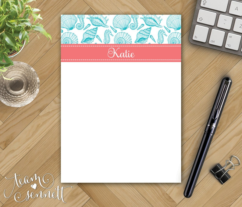 Preppy Beach Theme Monogram Stationery Mix /& Match Patterns Seashells Personalized Notepad Create Your Own Custom Printed Note Pad